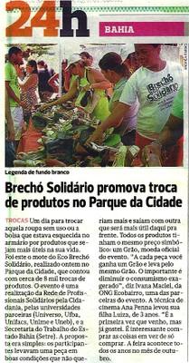 Correio da Bahia - 30-10-11 - Brechó Solidário promova troca de produtos no parque da cidade
